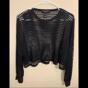 Forever 21 Sheer Netted Crop Top